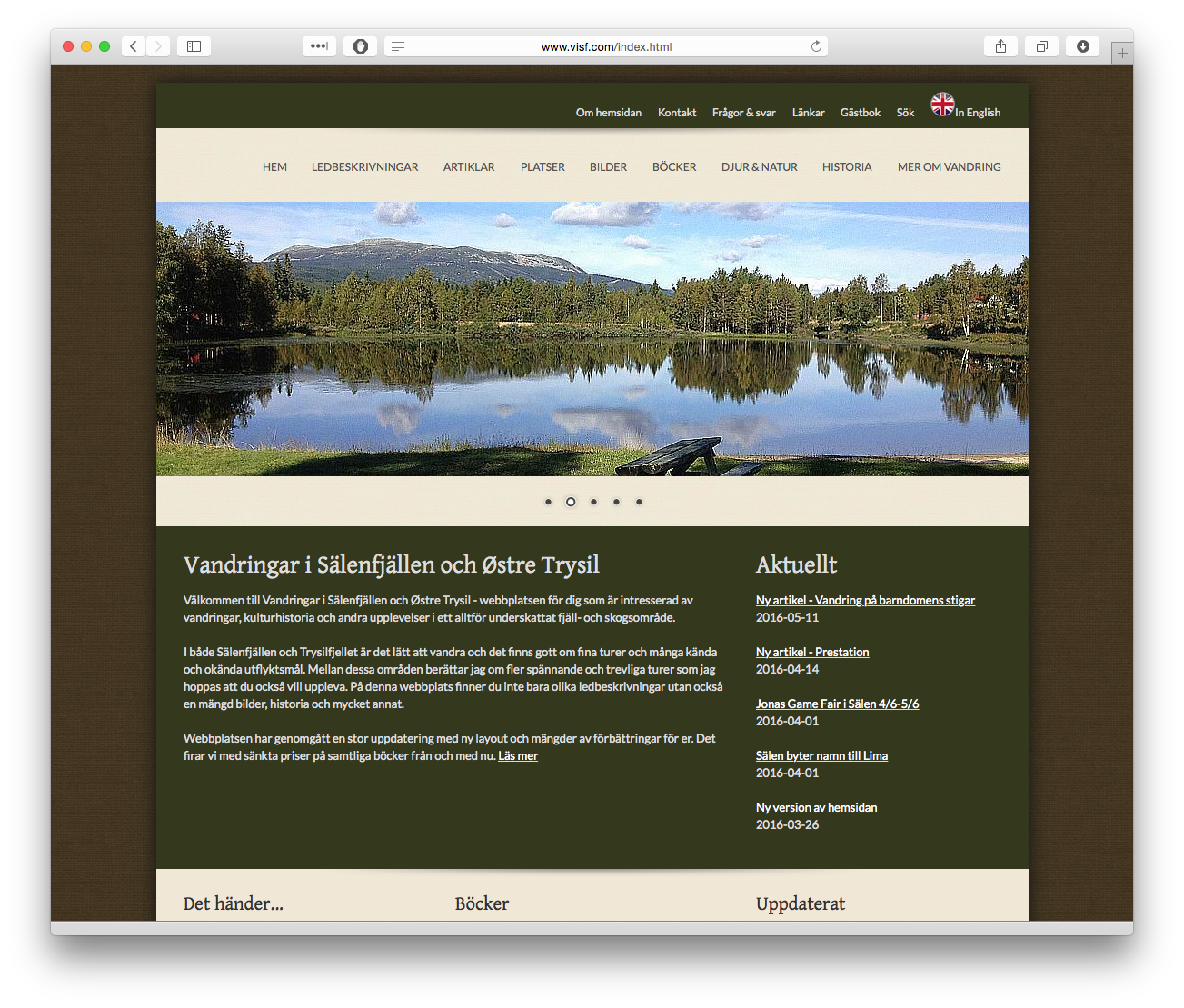 Information om vandringar i Trysil och Sälenfjällen